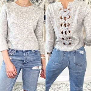 ASOS Cropped Sweater Lace Up Back Cuffed Sleeves